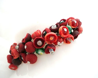 Bracelet Beaded Cluster Red Polymer Clay Handmade Charm  Chain OOAK