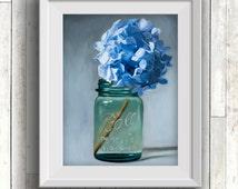 Jar of Blue Hydrangeas - Fine Art Oil Painting Archival Giclee Print by Artist Lauren Pretorius
