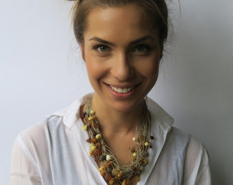 Linen necklace Amber Necklace Organic Gift Bocho Necklace free shipping