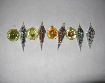 Set of 9 vintage jewel brite plastic Christmas tree ornaments