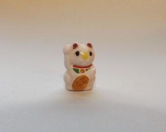 Small Porcelain Lucky Cat Bead -  Maneki Neko - Beckoning Cat, Lucky Cat - Raised Paw