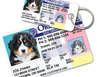 Oregon Driver License Custom Pet ID Tags and Wallet Card - Dog ID Tag - Personalized Pet ID Tags
