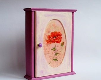 Wooden key box cabinet with poppy wall decor hand painted purple creme