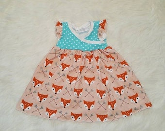 Fox dress - First Birthday Dress - Fox Birthday -Toddler Dress - Summer Dress -18 month Dress