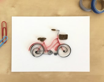 Quilling Paper Red Bicycle Wall Decor, Vintage Bike Art, Boys Room Bike Art, Toddler Bike Art, Office Bicycle Decor, Gift for Cyclist