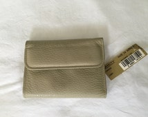 Vintage wallet, Amity dead stock cowhide money holder, tan coin purse, leather