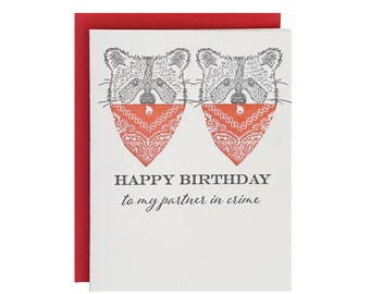 Partner in Crime Letterpress Birthday Card