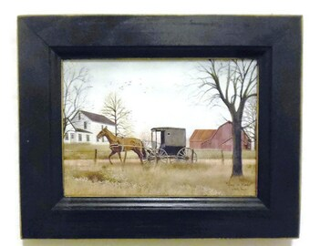 Amish, Goin to  Market, Primitve Home Decor, Horse and Buggy, 7 X 9,  Art Print, Handmade, Custom Wood Frame, Wall Hanging, Made in the USA