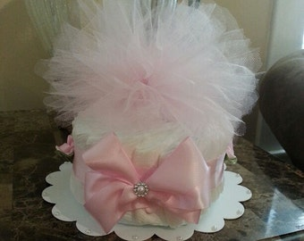 One Tier Pink Tulle Diaper Cake / Baby Shower Centerpiece / Elegant Diaper Cakes /  Baby Shower Gift