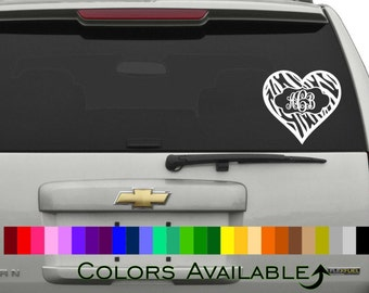 Monogram Zebra Heart Car Decal