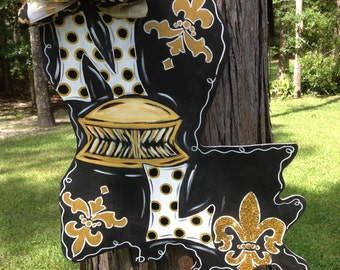 Louisiana, NOLA, Saints, Fleur de Lis, Door Hanger, Door Wreath, Fall, La
