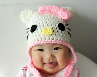 Crochet Hello Kitty Hat for Infant to Toddler