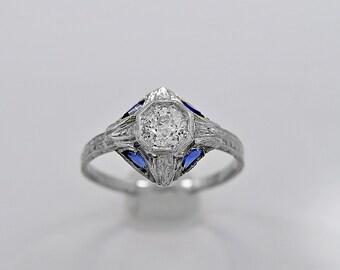 Antique Engagement Ring .43ct. Diamond, Sapphire & 18K White Gold - J34709