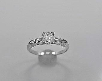 Vintage Engagement Ring .55ct. Diamond & Platinum Art Deco - J35600