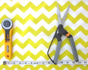 Yellow and White Chevron Fabric, 1/2 yard
