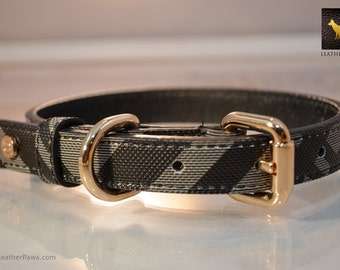 "Black Designer Leather Dog Collar Crosshatch Texture Design For Small to Large Breeds -  Neck 11"" to 21"""
