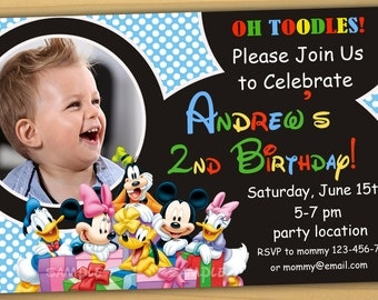 Mickey mouse Birthday Invitation, mickey mouse clubhouse birthday invitation, mickey mouse clubhouse invitation - Digital