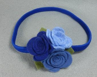 Felt Flower Headband, Blue Felt Headband, Elastic Stretchy Headband, Baby Headband, Girls Headband, Infant Headband, Womens Headband