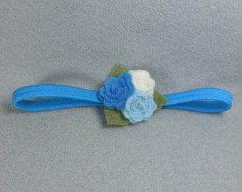 Blue Flower Elastic Headband- Felt Flower Headband - Baby Headband - Girls Headband - Head Band - Infant Headband - Womens Headband