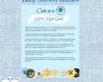 Cute As A Button Left Or Right Baby Shower Game   Instant Download    Bottoms And