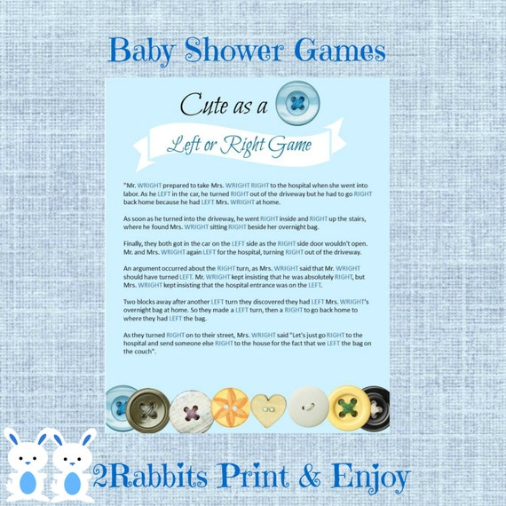 cute as a button left or right baby shower game instant download