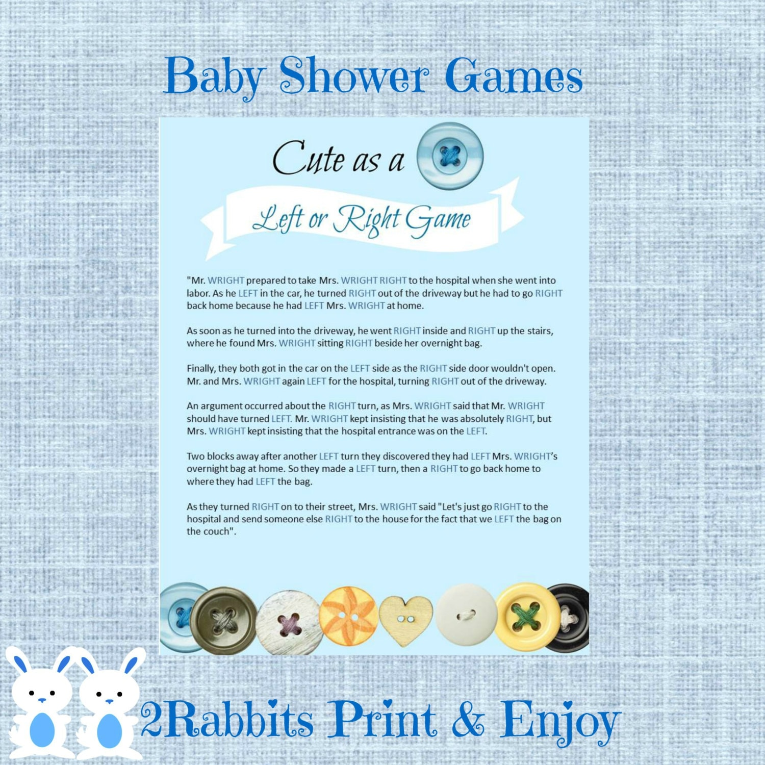 cute as a button left or right baby shower game instant