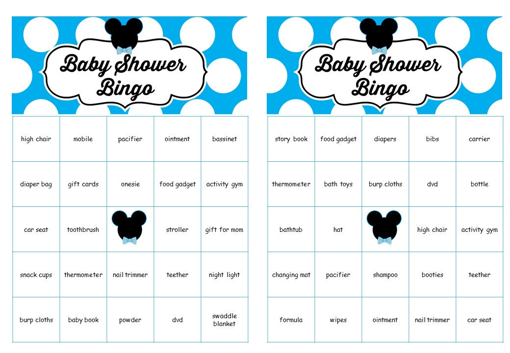 mickey mouse baby shower bingo cards prefilled words mickey