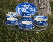 Blue Willow Childs Tea Set Doll China Gravy Boat Platter Plates Cup Saucer Sugar Creamer