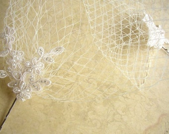Birdcage Veil - Ivory Wedding Veil - Bridal Blusher Veil - Lace Wedding Veil - French Rusian Netting Veil - Lace Wedding Accessories