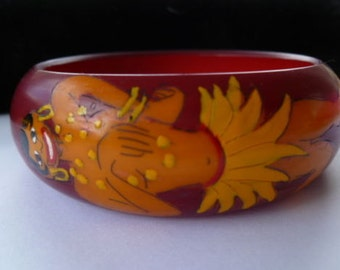 Hard to Find RARE JOSEPHINE BAKER Galalith Vintage Bangle