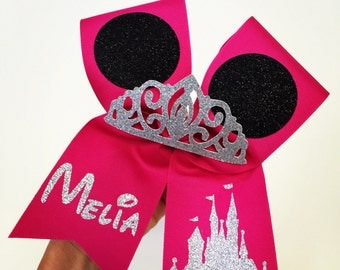 Hot Pink Minnie Mouse Ears Personalized bow with glitter tiara