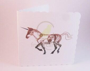 Steampunk Unicorn Blank Card, Unicorn Card, Steampunk Card, UK