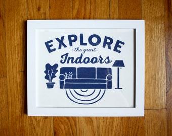 The Great Indoors - 8X10 Art Print -  Vintage Illustrated Print