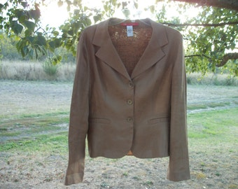 Retro 90s STEAMPUNK EDWARDIAN Designer Ann Klein LOVELY Light Brown Linen Jacket, w subtle embossed Flowers & Sheering Back, Ruffle, Lg
