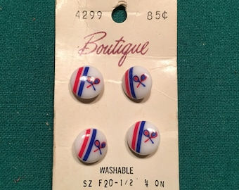 """Vintage 60's """"Boutique"""" brand Tennis Buttons Red, White and Blue! Free shipping :)"""