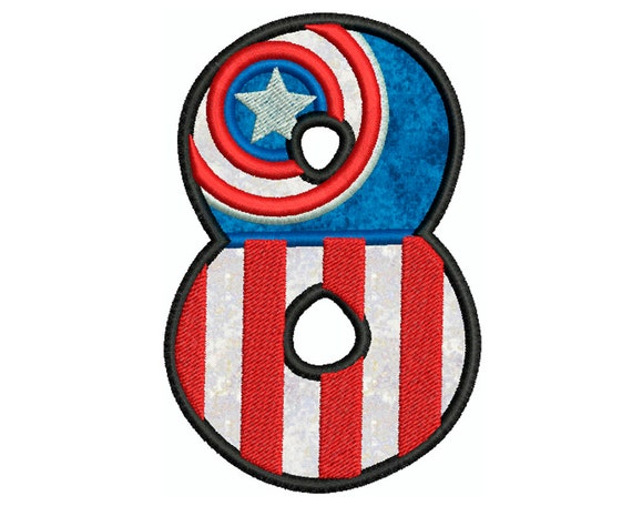 CAPTAIN AMERICA NUMBER 8 Machine Applique By Embroiderblock