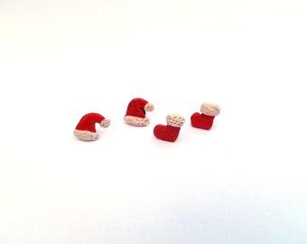 Santa hat and boots earrings,Christmas Stud Earrings,Tiny Christmas Studs,Christmas polymer clay earrings