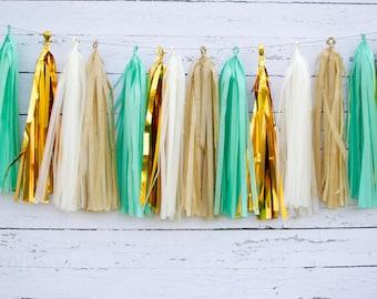 Mint Garland Kit, Mint Tassel Garland, Mint Banner, Mint Green Party Decorations, Mint Baby Shower, Mint Birthday supplies, mint tassles