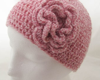Pink Girls Beanie Hat with Crochet Flower - Handmade - Size 1-2 years
