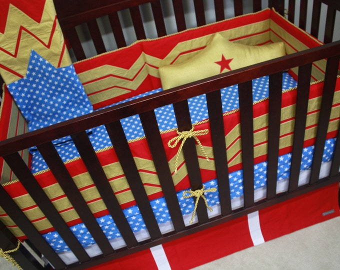 Superhero Baby Bedding--Superhero Girl--Custom Crib Bedding-MTO