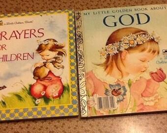2 Little Golden books Prayers for Children 1974 & About God 1975 VG age 4-8