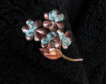 Fashion Pin Lapel Coat Pin Vintage Jewelry Copper Gold Aquamarine Color