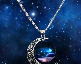 Crescent moon and stars cabochon necklace