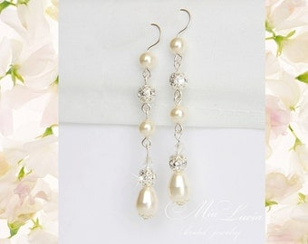 Long Pearl Earrings, Bridal pearl drop earrings, Long Bridal Earrings, Wedding jewelry Earrings, Wedding Jewlery, Bridal jewelery, art 236-1