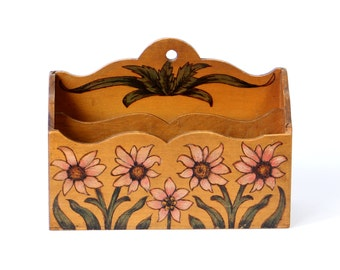 Antique file box wooden box decorative painting solid wood desk organizer pen tray walnut