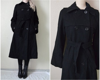 Black Wool Trench coat Womens Double breasted Long winter peacoat Vintage 90s Minimalist overcoat Made in Finland Dixi coat UK 10 S Small