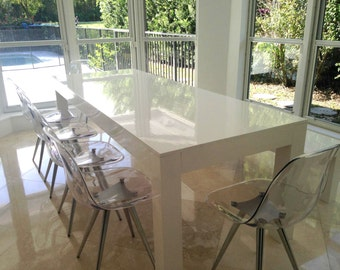 ON SALE Modern White Parsons Table And Bench Dining Set High Gloss