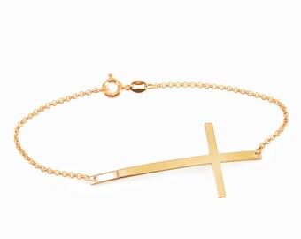 14k Solid gold cross bracelet Simple Cross, x bracelet, Gold or Silver, Skinny Cross Celebrity Inspired, big tiny cross bracelet, cross gold