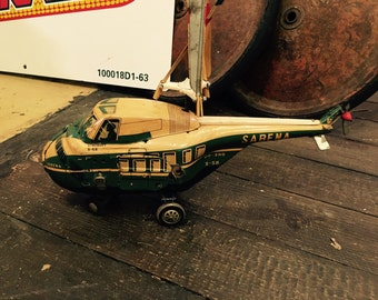 Rare Vintage Travel Agency Model Helicopter of Sabena Sikorsky S-58 - Battery Powered Tin Litho