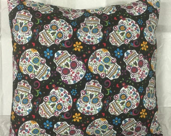 Sugar Skull Pillow Cover, Day of the Dead Pillow Case, Decorative Pillow, Halloween Pillow, 16x16 Throw Pillow, Decorative Pillow Case